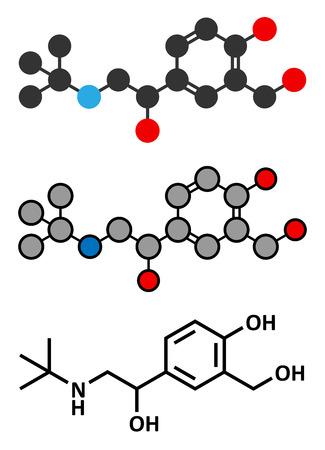 asthma inhaler: Salbutamol (albuterol) asthma drug molecule. Often administered via inhaler. Conventional skeletal formula and stylized representations.