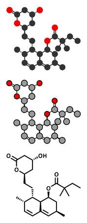 Simvastatin cholesterol lowering drug (statin class) molecule. Conventional skeletal formula and stylized representations. Vector
