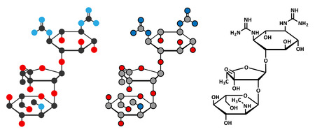 mycobacterium: Streptomycin tuberculosis antibiotic (aminoglycoside class) molecule. Conventional skeletal formula and stylized representations. Illustration