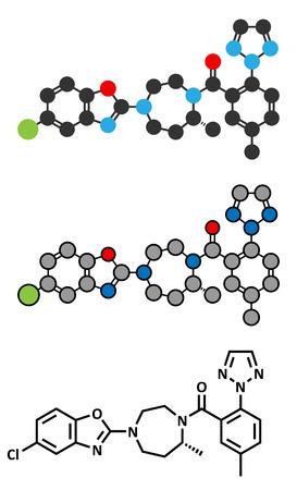 sleeping pills: Suvorexant insomnia drug (sleeping pill) molecule. Dual orexin receptor antagonist (DORA). Conventional skeletal formula and stylized representations. Illustration