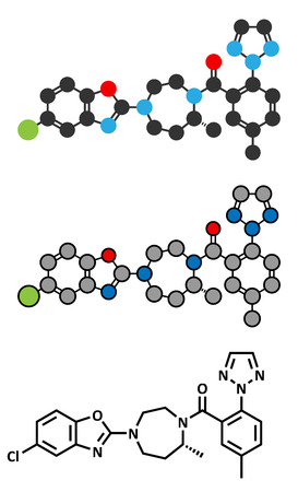 Suvorexant insomnia drug (sleeping pill) molecule. Dual orexin receptor antagonist (DORA). Conventional skeletal formula and stylized representations. Stock Illustratie