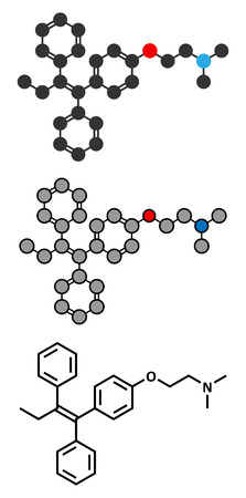 Tamoxifen cancer drug molecule. Conventional skeletal formula and stylized representations.