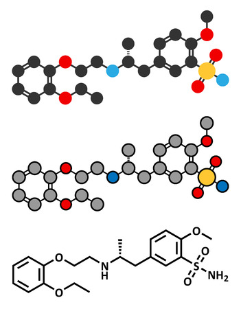 urination: Tamsulosin benign prostatic hyperplasia (BPH) drug molecule. Conventional skeletal formula and stylized representations.