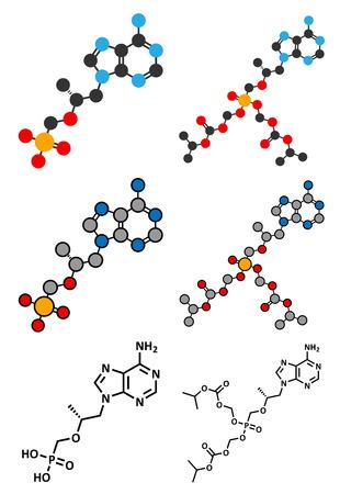 prophylaxe: HIV-Medikament Tenofovir Molek�l. Konventionelles Skelettformel und stilisierte Darstellungen. Illustration