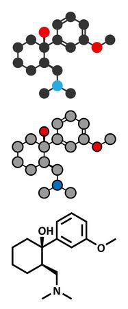 opioid: Tramadol opioid analgesic drug molecule. Conventional skeletal formula and stylized representations.