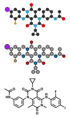 melanoma: Trametinib melanoma cancer drug molecule. Conventional skeletal formula and stylized representations.