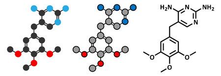 representations: Trimethoprim antibiotic drug molecule. Conventional skeletal formula and stylized representations. Illustration