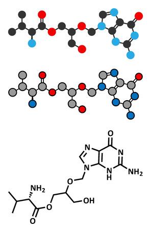 immunodeficiency: Valganciclovir cytomegalovirus (CMV, HCMV) drug molecule. Conventional skeletal formula and stylized representations.