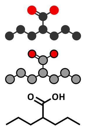 epilepsy: Valproic acid or valproate epilepsy (seizures) drug molecule. Conventional skeletal formula and stylized representations.