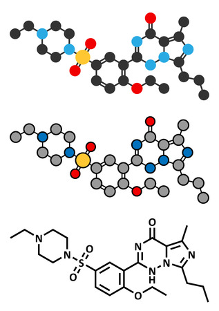 Vardenafil erectile dysfunction drug molecule. Conventional skeletal formula and stylized representations. Vector