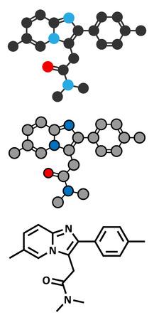 insomnia: Zolpidem insomnia drug (sleeping pill) molecule. Conventional skeletal formula and stylized representations.