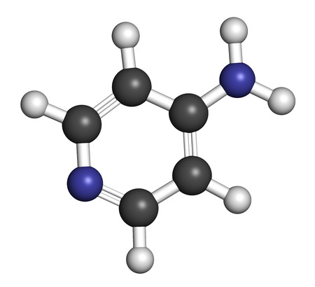 amine: Fampridine (4-aminopyridine, dalfampridine) multiple sclerosis drug molecule. Atoms are represented as spheres with conventional color coding: hydrogen (white), carbon (grey), nitrogen (blue).