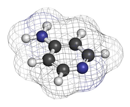 Fampridine (4-aminopyridine, dalfampridine) multiple sclerosis drug molecule. Atoms are represented as spheres with conventional color coding: hydrogen (white), carbon (grey), nitrogen (blue).