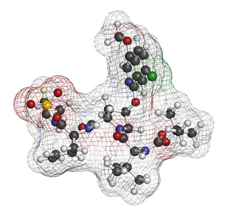serine: Asunaprevir hepatitis C virus (HCV) drug molecule. Atoms are represented as spheres with conventional color coding: hydrogen (white), carbon (grey), oxygen (red), nitrogen (blue), chlorine (green), sulfur (yellow). Stock Photo