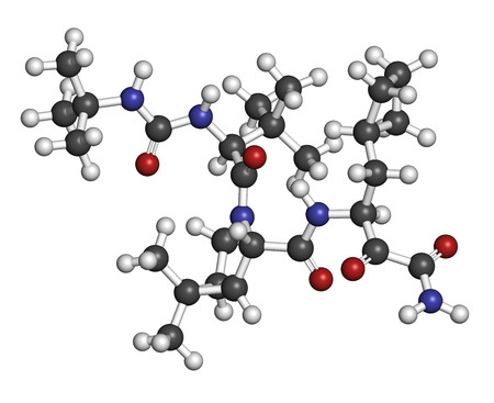 genotype: Boceprevir hepatitis C virus (HCV) drug molecule. Atoms are represented as spheres with conventional color coding: hydrogen (white), carbon (grey), oxygen (red), nitrogen (blue). Stock Photo