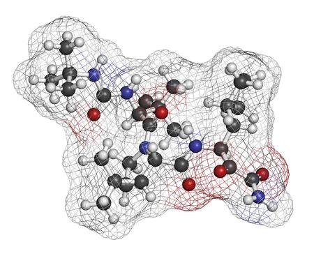 protease: Boceprevir virus de la hepatitis C (VHC) mol�cula de f�rmaco. Los �tomos se representan como esferas con codificaci�n de colores convencionales: hidr�geno (blanco), carb�n (gris), ox�geno (rojo), nitr�geno (azul).