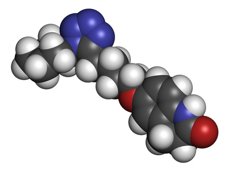 intermittent: Cilostazol intermittent claudication treatment drug molecule. Inhibitor of phosphodiesterase  (PDE3). Atoms are represented as spheres with conventional color coding: hydrogen (white), carbon (grey), oxygen (red), nitrogen (blue).
