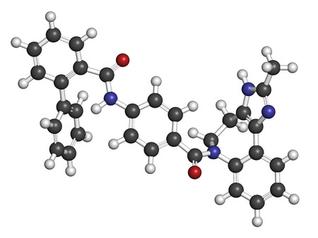 Conivaptan hyponatremia drug molecule. Inhibitor of vasopressin receptors V1a and V2 Atoms are represented as spheres with conventional color coding: hydrogen (white), carbon (grey), oxygen (red), nitrogen (blue).
