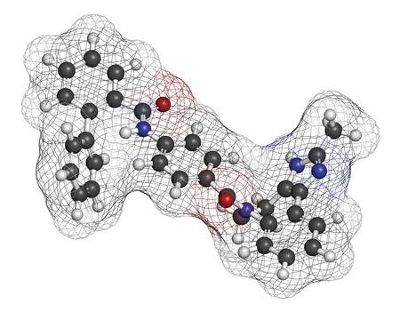 hidr�geno: Conivaptan mol�cula del f�rmaco hiponatremia. Inhibidor de los receptores de vasopresina V1a y V2 Los �tomos se representan como esferas con codificaci�n de color convencional: hidr�geno (blanco), carbono (gris), ox�geno (rojo), nitr�geno (azul).