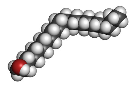 antiviral: Docosanol (behenyl alcohol) antiviral drug molecule. Used in treatment of cold sores (herpes simplex virus). Atoms are represented as spheres with conventional color coding: hydrogen (white), carbon (grey), oxygen (red).