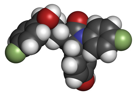 Ezetimibe cholesterol-lowering drug molecule. Atoms are represented as spheres with conventional color coding: hydrogen (white), carbon (grey), oxygen (red), nitrogen (blue), fluorine (light green).