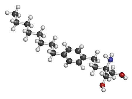 ms: Fingolimod multiple sclerosis (MS) drug molecule. Atoms are represented as spheres with conventional color coding: hydrogen (white), carbon (grey), oxygen (red), nitrogen (blue).