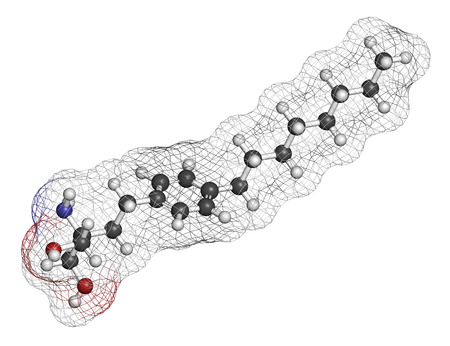modifying: Fingolimod multiple sclerosis (MS) drug molecule. Atoms are represented as spheres with conventional color coding: hydrogen (white), carbon (grey), oxygen (red), nitrogen (blue).