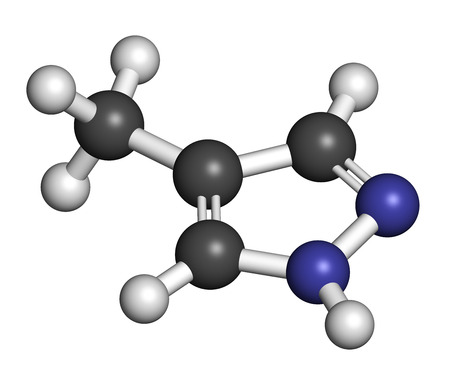 antidote: Fomepizole methanol poisoning antidote molecule. Atoms are represented as spheres with conventional color coding: hydrogen (white), carbon (grey), nitrogen (blue).