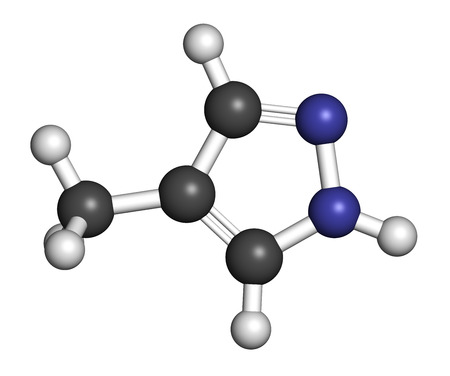 Fomepizole methanol poisoning antidote molecule. Atoms are represented as spheres with conventional color coding: hydrogen (white), carbon (grey), nitrogen (blue).