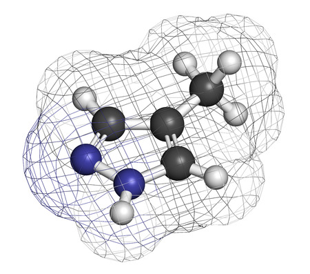 poisoning: Fomepizole methanol poisoning antidote molecule. Atoms are represented as spheres with conventional color coding: hydrogen (white), carbon (grey), nitrogen (blue).