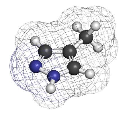 hidr�geno: Fomepizole mol�cula ant�doto intoxicaci�n por metanol. Los �tomos se representan como esferas con codificaci�n de colores convencionales: hidr�geno (blanco), carb�n (gris), nitr�geno (azul).