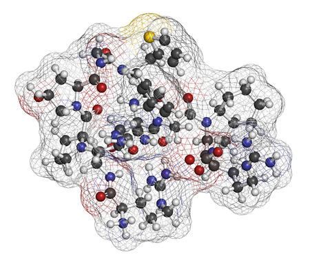 hereditary: Icatibant hereditary angioedema drug molecule (orphan drug). Atoms are represented as spheres with conventional color coding: hydrogen (white), carbon (grey), oxygen (red), nitrogen (blue), sulfur (yellow).