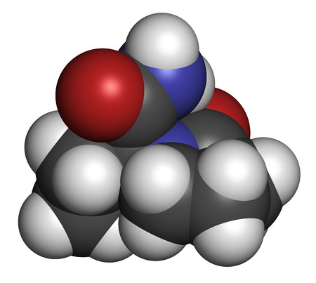 neuropathic: Levetiracetam epilepsy (seizures) drug molecule. S-isomer of etiracetam. Atoms are represented as spheres with conventional color coding: hydrogen (white), carbon (grey), oxygen (red), nitrogen (blue).