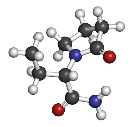 seizures: Levetiracetam epilepsy (seizures) drug molecule. S-isomer of etiracetam. Atoms are represented as spheres with conventional color coding: hydrogen (white), carbon (grey), oxygen (red), nitrogen (blue).