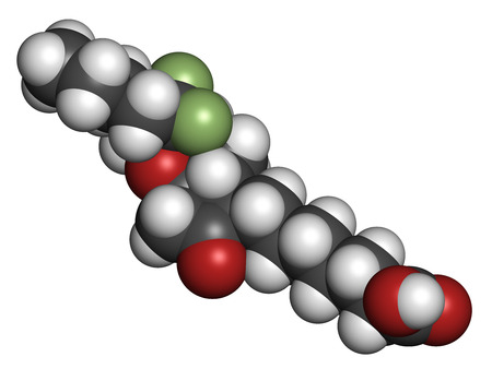 irritable bowel syndrome: Lubiprostone chronic constipation drug molecule. Atoms are represented as spheres with conventional color coding: hydrogen (white), carbon (grey), oxygen (red), fluorine (light green). Stock Photo