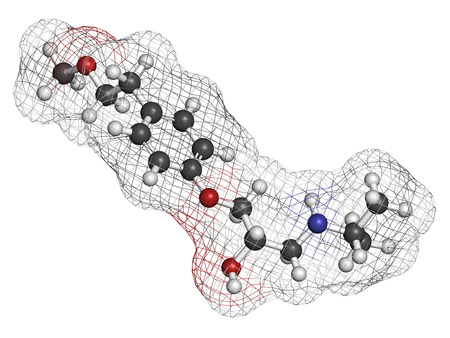 Metoprolol high blood pressure drug molecule (beta blocker). Atoms are represented as spheres with conventional color coding: hydrogen (white), carbon (grey), oxygen (red), nitrogen (blue). Stock Photo