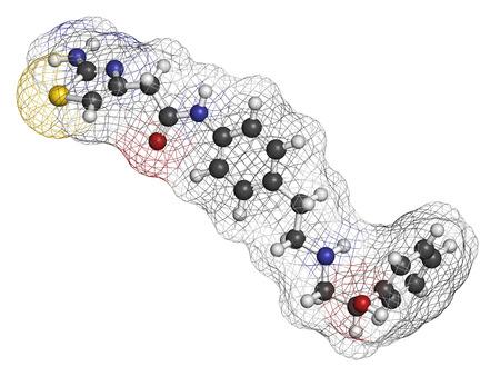 hidr�geno: Mirabegron vejiga hiperactiva mol�cula de f�rmaco de tratamiento. Los �tomos se representan como esferas con codificaci�n de colores convencionales: hidr�geno (blanco), carb�n (gris), ox�geno (rojo), nitr�geno (azul), azufre (amarillo).