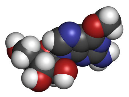 nucleoside: Nelarabine leukemia drug molecule. Atoms are represented as spheres with conventional color coding: hydrogen (white), carbon (grey), oxygen (red), nitrogen (blue).