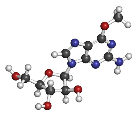 Nelarabine leukemia drug molecule. Atoms are represented as spheres with conventional color coding: hydrogen (white), carbon (grey), oxygen (red), nitrogen (blue).