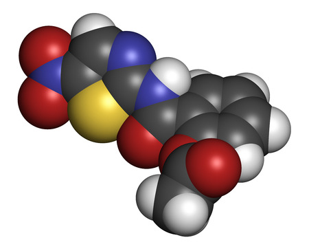 Nitazoxanide antiprotozoal drug molecule. Atoms are represented as spheres with conventional color coding: hydrogen (white), carbon (grey), oxygen (red), nitrogen (blue), sulfur (yellow).