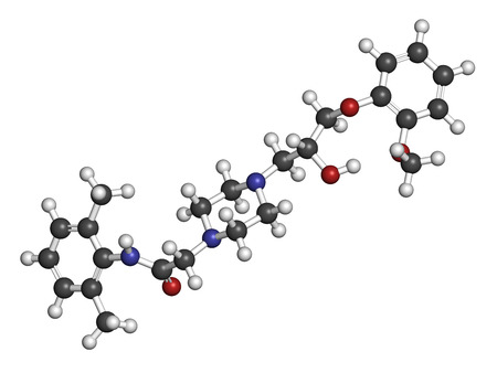 angina: Ranolazine antianginal drug molecule. Used in treatment of chronic angina pectoris. Atoms are represented as spheres with conventional color coding: hydrogen (white), carbon (grey), oxygen (red), nitrogen (blue).