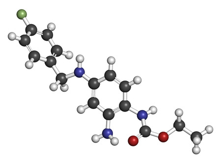 seizures: Retigabine (ezogabine) anticonvulsant drug molecule. Used in treatment of seizures (epilepsy). Atoms are represented as spheres with conventional color coding: hydrogen (white), carbon (grey), oxygen (red), nitrogen (blue), chlorine (green), fluorine (lig