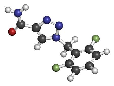 convulsión: Convulsiones de rufinamida mol�cula de f�rmaco. Los �tomos se representan como esferas con codificaci�n de colores convencionales: hidr�geno (blanco), carb�n (gris), ox�geno (rojo), nitr�geno (azul), fl�or (verde claro). Foto de archivo