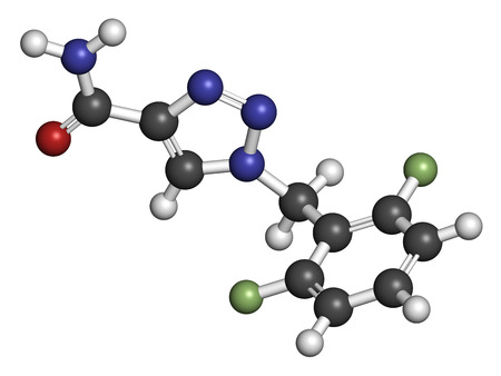 seizures: Rufinamide seizures drug molecule. Atoms are represented as spheres with conventional color coding: hydrogen (white), carbon (grey), oxygen (red), nitrogen (blue), fluorine (light green).