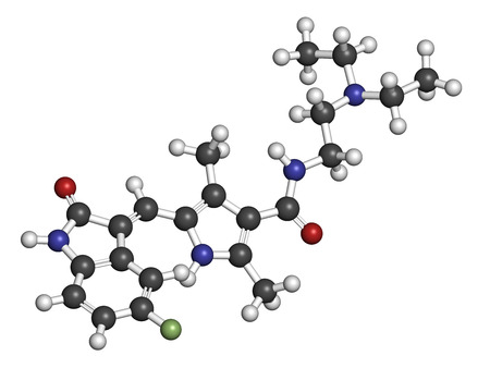 endothelial: Sunitinib cancer drug molecule. Atoms are represented as spheres with conventional color coding: hydrogen (white), carbon (grey), oxygen (red), nitrogen (blue), fluorine (light green).