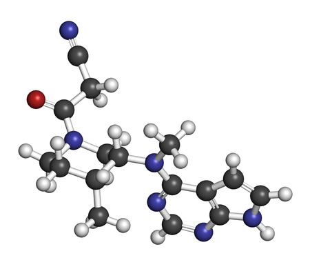 immunological: Tofacitinib rheumatoid arthritis drug molecule. Inhibitor of Janus kinase 3 (JAK3). Atoms are represented as spheres with conventional color coding: hydrogen (white), carbon (grey), oxygen (red), nitrogen (blue).