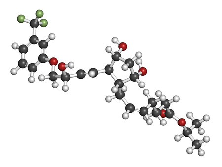 Travoprost eye disease drug molecule. Used in treatment of glaucoma and ocular hypertension. Atoms are represented as spheres with conventional color coding: hydrogen (white), carbon (grey), oxygen (red), fluorine (light green).