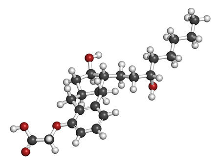 arterial: Treprostinil pulmonary arterial hypertension drug molecule. Synthetic analog of prostacyclin (PGI2). Atoms are represented as spheres with conventional color coding: hydrogen (white), carbon (grey), oxygen (red).