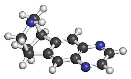 agonist: Varenicline smoking cessation drug molecule. Atoms are represented as spheres with conventional color coding: hydrogen (white), carbon (grey), nitrogen (blue).