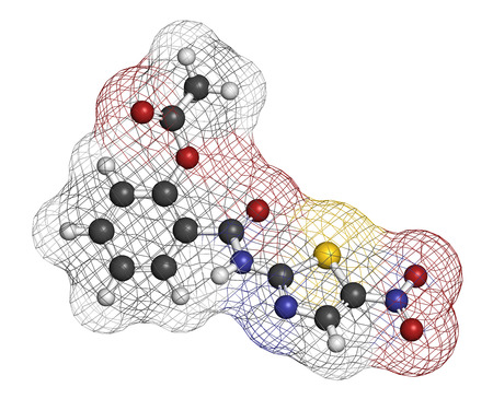 giardia: Nitazoxanide antiprotozoal drug molecule. Atoms are represented as spheres with conventional color coding: hydrogen (white), carbon (grey), oxygen (red), nitrogen (blue), sulfur (yellow).